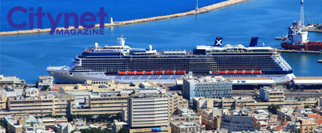 The Celebrity Silhouette cruise ship towers over among its surroundings when it's docked in Haifa, Israel.