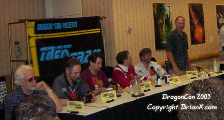 A Dragon*Con Trek Trak panel discussing the first two seasons of the show 'Enterprise.' It featured J. G. Herztler, Chris Jones, Arne Starr, Brian Sussman, and Vaughn Armstrong.